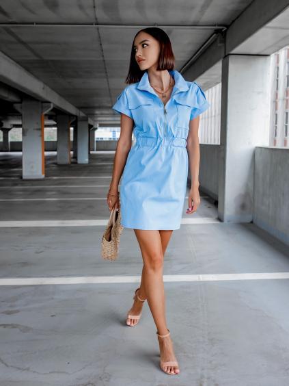 Světle modré šaty RUSTIC se zipem