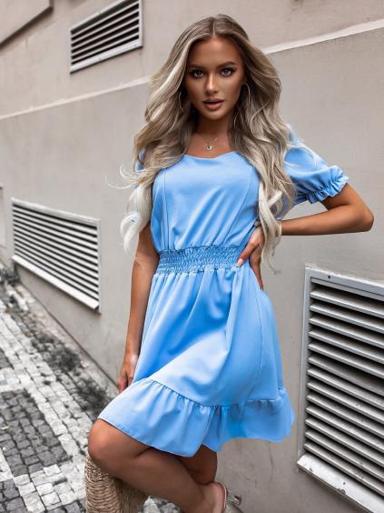 Modré kratší šaty SHERYL s krátkým rukávem