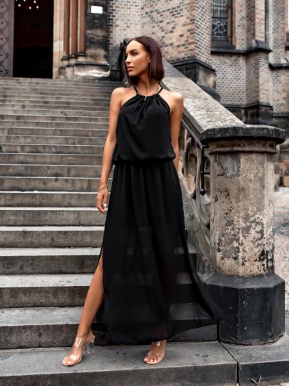 Černé delší šaty SCARLET s rozparkem