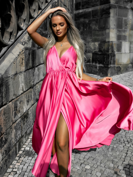 Růžové dlouhé lesklé šaty PERFECTLY