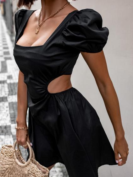 Černé kratší šaty GROW s průstřihy