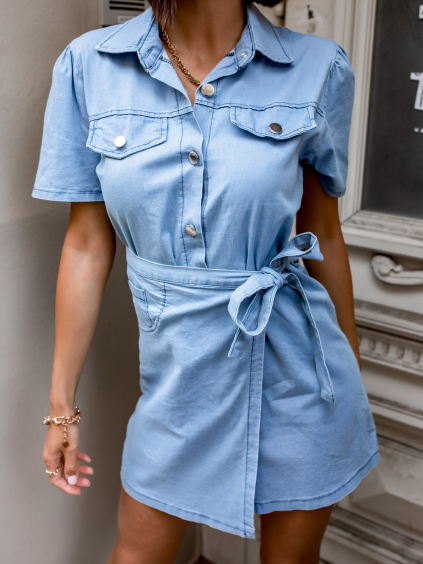 Modré denim šaty BACKIE na knoflíky