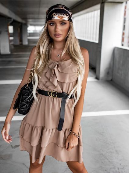 Hnědé volánkové šaty LOVELY s páskem