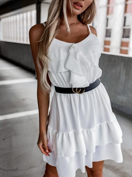 Bílé volánkové šaty LOVELY s páskem