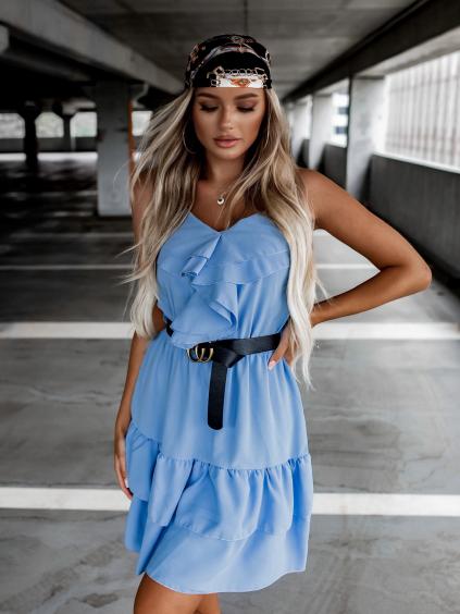 Modré volánkové šaty LOVELY s páskem