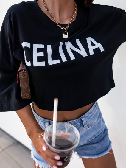 Černé oversize crop triko CELINA s potiskem