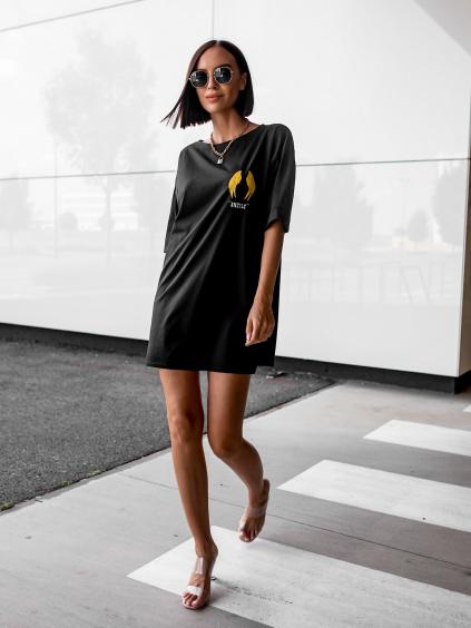 Černé oversize triko/šaty ANGELS s potiskem na zádech