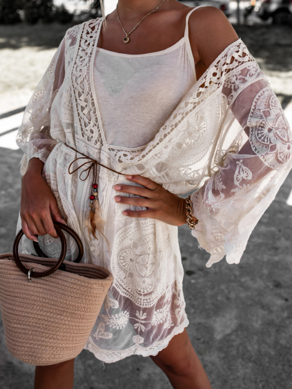 Krémové krajkové šaty/přehoz PERU s vázáním