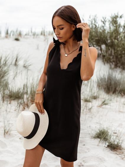 Černé kratší šaty ROBBIE s vázáním na ramenou