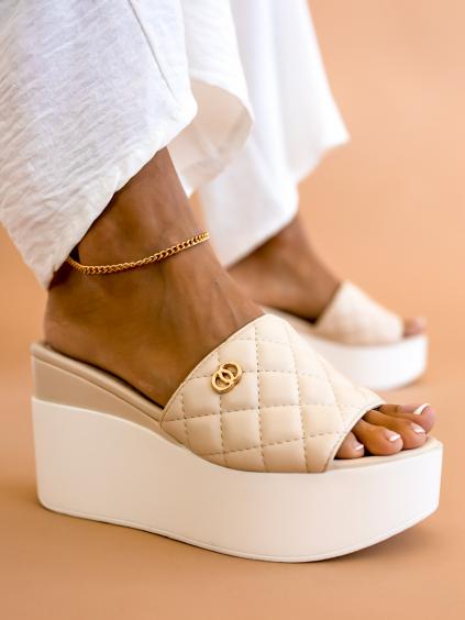 Béžové boty na platformě HOLLIS