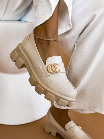 Béžové boty ANDRES se zlatým doplňkem