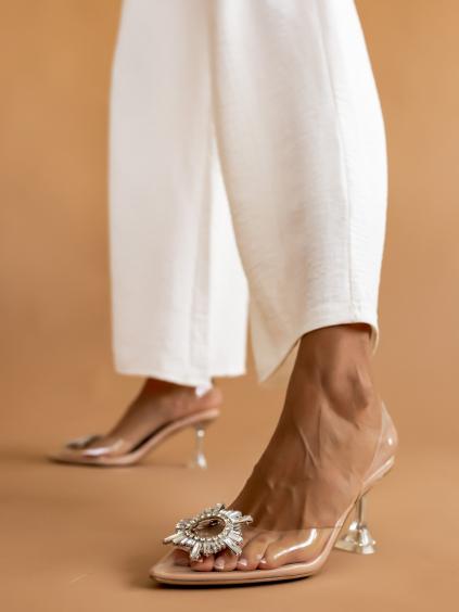 Béžové boty na podpatku SPRINGE s transparentním páskem
