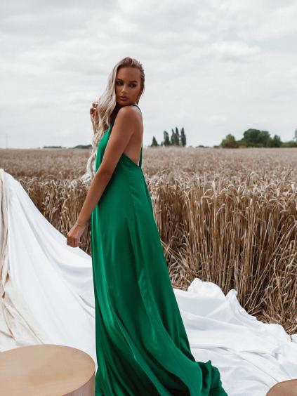 Zelené dlouhé lesklé šaty HAYLEY