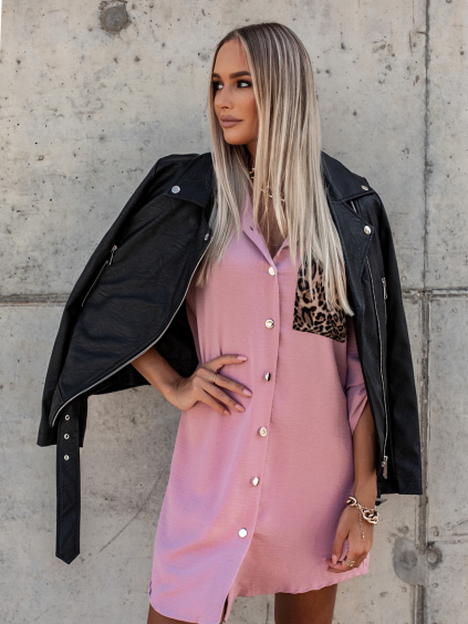 Starorůžové košilové šaty LENNA s kapsičkou