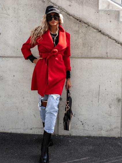 Červený cardigan HILLARY na zavazování