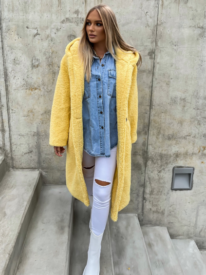 Žlutý delší kabát LEXIE s kapucí