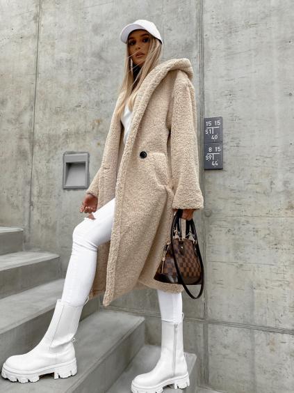 Světle béžový delší kabát LEXIE s kapucí