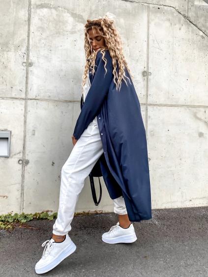 Tmavě modrá dlouhá lehká bunda SINCE