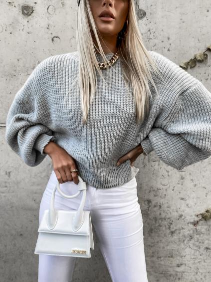 Šedý pletený svetr DEITY s volnými rukávy