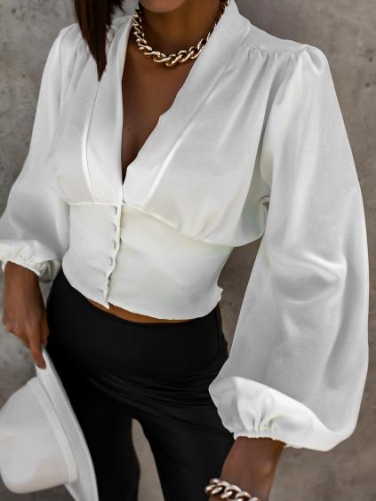 Bílá halenka KENDALL s volnými rukávy a knoflíky