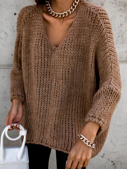 Hnědý pletený oversize svetr JENG