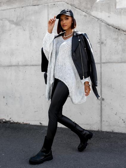 Šedý  pletený oversize svetr JENG