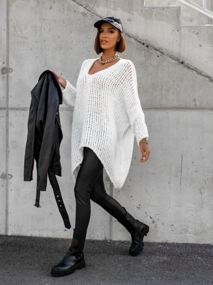 Bílý  pletený oversize svetr JENG