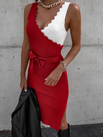 Červené delší šaty NATURAL s rozparky a vázáním v pase