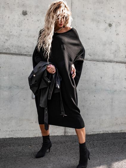 Černé strukturované volné šaty SHALLOW