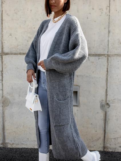 Tmavě šedý dlouhý pletený cardigan EMALYN s kapsami