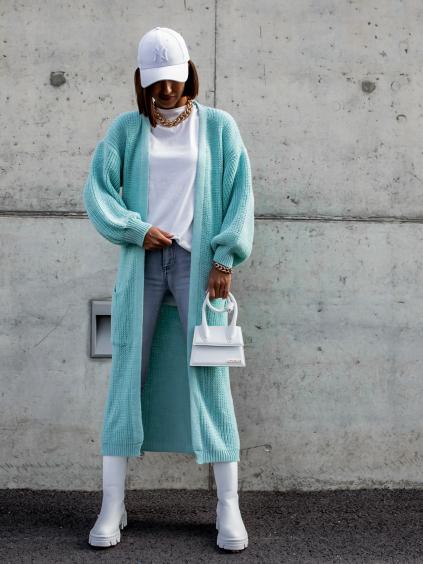 Tyrkysový dlouhý pletený cardigan EMALYN s kapsami