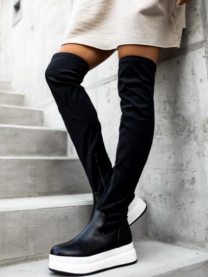 Černé kozačky ALERT nad kolena