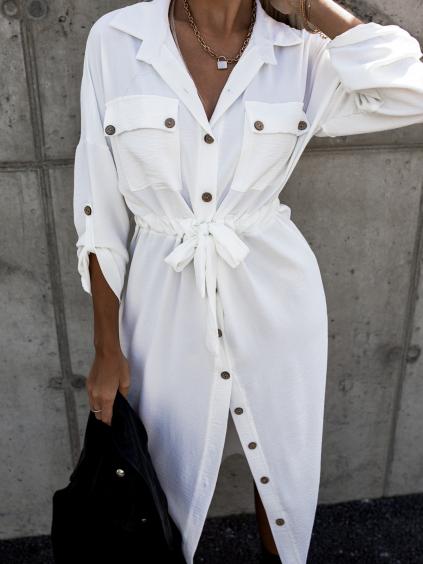 Bílé košilové šaty ENTICE s knoflíky