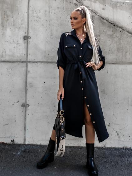Černé košilové šaty ENTICE s knoflíky