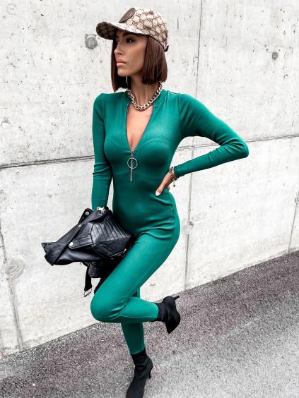 Zelený dlouhý overal ACCEPT se zipem