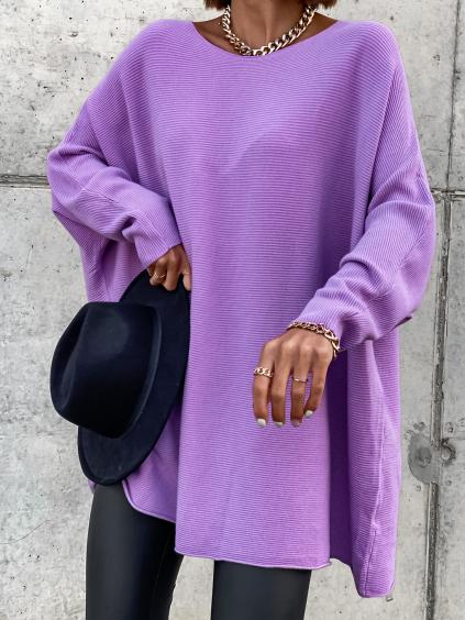 Fialový svetřík LEARN s volnými rukávy