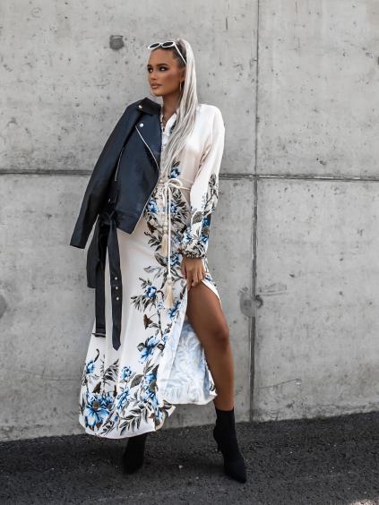 Krémové dlouhé šaty ESSENTIAL s květinovým vzorem a vázáním