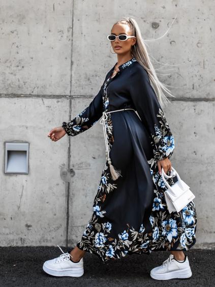 Černé dlouhé šaty ESSENTIAL s květinovým vzorem a vázáním