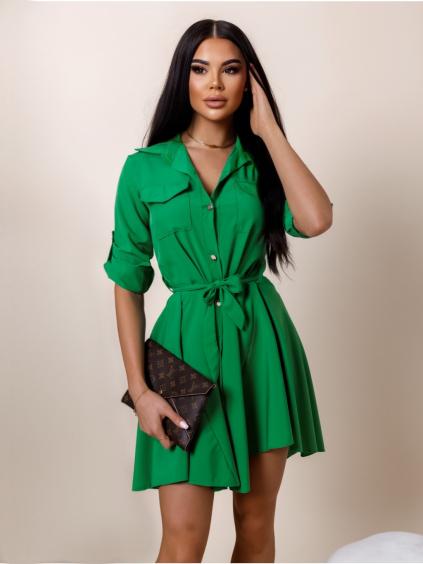 Zelené lehké šaty FOGGY s knoflíky