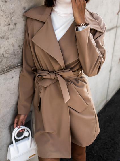 Béžový kabátek FAVORY s vázáním v pase