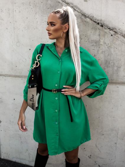 Zelené košilové šaty DEEP s páskem