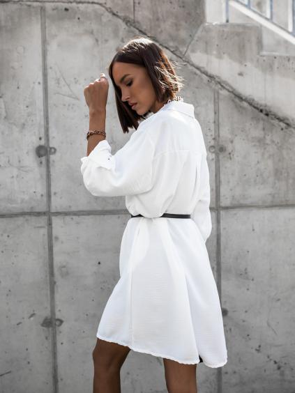 Bílé košilové šaty DEEP s páskem