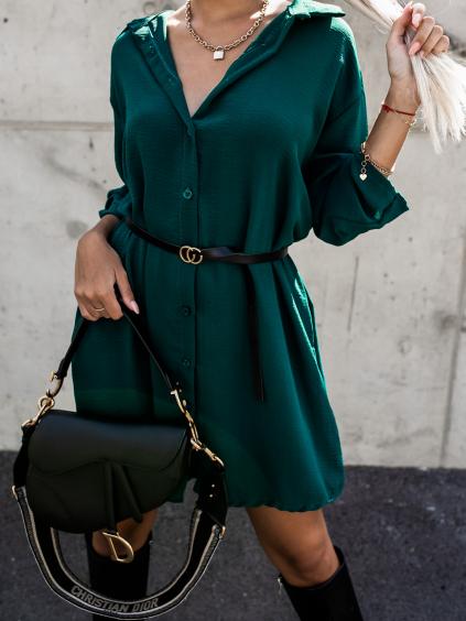 Smaragdové košilové šaty DEEP s páskem