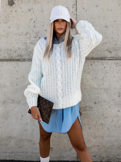 Bílý pletený svetr GRASP