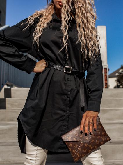 Černé košilové šaty NECKLACE s knoflíky a kapsičkou