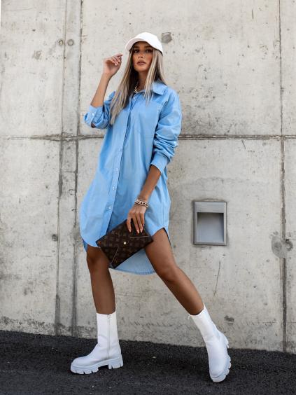Světle modré košilové šaty NECKLACE s knoflíky a kapsičkou
