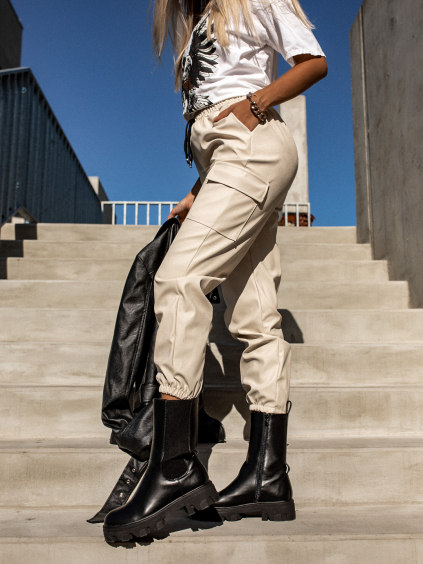 Krémové koženkové kalhoty STORY s kapsami