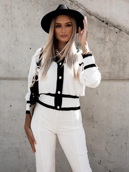 Bílý elegantní svetřík RAZOR s knoflíky