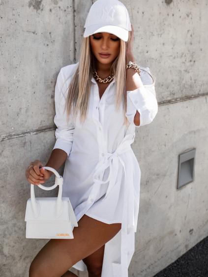 Bílé bavlněné asymetrické košilové šaty PIECE