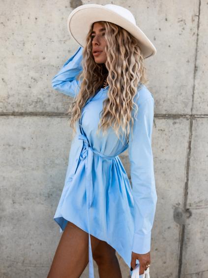 Světle modré bavlněné asymetrické košilové šaty PIECE